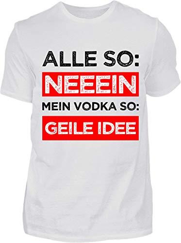 Kreisligahelden T-Shirt Herren Lustig Vodka Geile Idee - Kurzarm Shirt Baumwolle mit Spruch Aufdruck - Karneval Party Junggesellenabschied Fun Saufen Vodka (L, Weiss)
