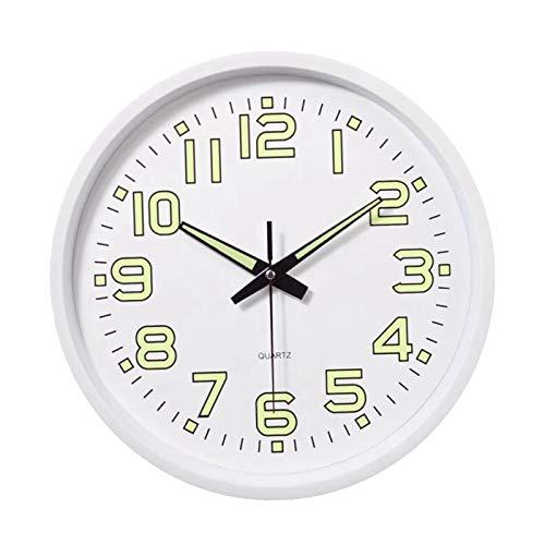 FLAMEER Reloj de Pared de 12'Reloj a batería Movimiento de Barrido preciso Reloj Decorativo para Dormitorio Sala de Estar Cocina Oficina niños habitación - Blanco