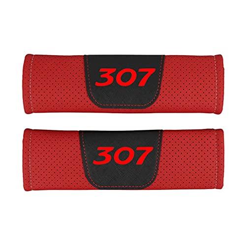 KYQYLL - 2 imbottiture per cintura di sicurezza, per Peugeot 307, protezione per cintura di sicurezza, imbottitura per interni auto, accessori (rosso, nero)