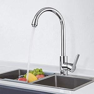 BONADE Grifo Cocina 360° Caño Giratorio Grifo Mezclador Cocina para Agua Fría y Caliente Latón Cromado Grifo de Cocina Forma Clásica