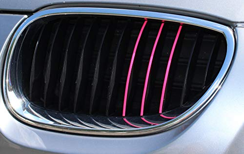 6-40 teiliges KFZ Aufkleber Set für Front und Kühlergrill -Finest Folia Folie Zierstreifen Streifen (K005 Neon Pink)
