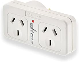 Sansai Left Hand Surge Protected Double Adaptor 10A 2400Watts with Active Indicator