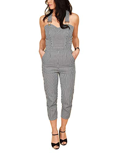 VOODOO VIXEN Anthea Fitted Stripe Overalls Jumpsuit Grijs