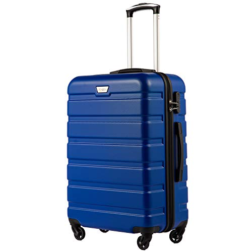 COOLIFE Suitcase Trolley Carry On Hand Cabin Luggage Hard Shell Travel Bag Lightweight 2 Year Warranty Durable 4 Spinner Wheels(Blue, M(65cm 60L))