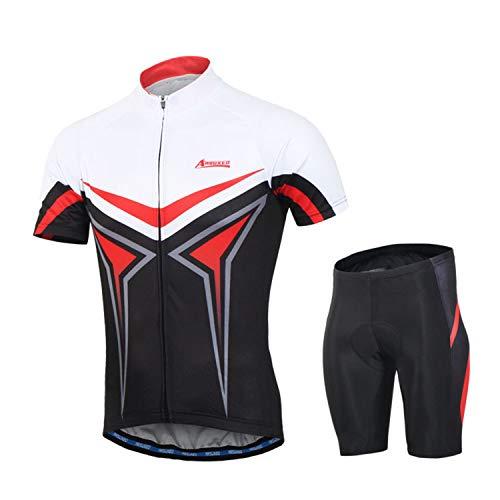 Arsuxeo Herren-Fahrradbekleidungs-Set mit langen Ärmeln für Berghosen und Jacken, Herren, rot, US XS / Tag S