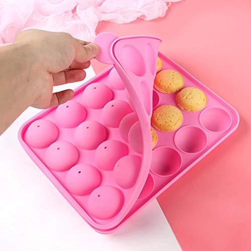 Lollipop Cake Mould Pop Molde 20 Hoyos Diy Herramientas para hornear Tamaño 22.5 * 18 * 3 cm Diámetro del círculo 4 cm, Resistente al calor -40 ° C a 230 ° C con 20 Sticks (Rosa)