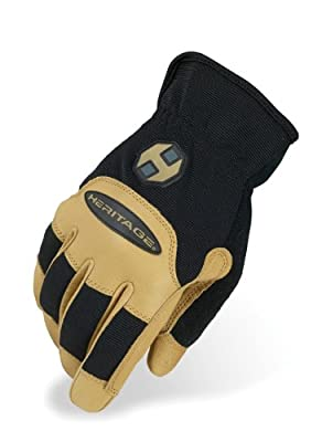 Heritage Stable Work Gloves, Size 9, Black/Tan