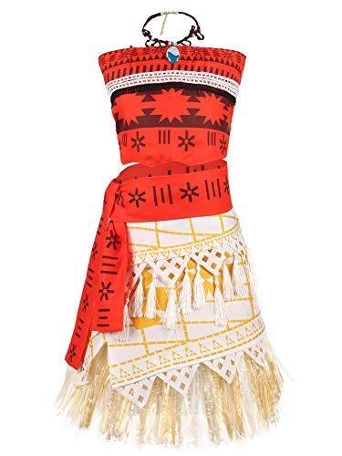 O.AMBW Disfraz de Moana Cosplay Princesa Vaiana Vestido Hawaiana Mar Adventura Conjunto de 2 Piezas Top + Falda Ropa para nios Disfraz con Accesorios Diadema Horquilla Collar de Moana Regalo