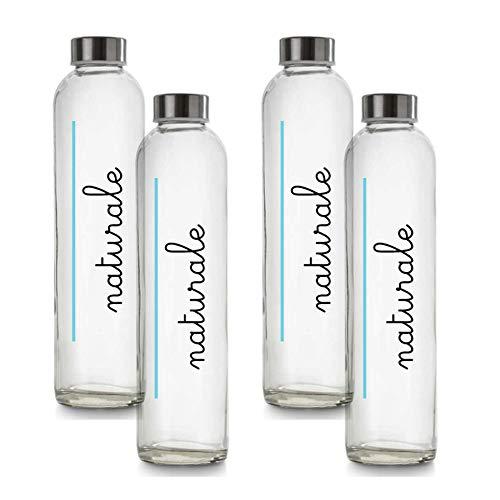 BrandPrint, Set di 4 Bottiglie in Vetro per Acqua Naturale Modello Eos 750 ml con Tappo a Vite in Acciaio Inox. Per Bevande e Succhi.
