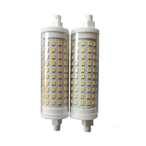 JCMY Bombillas GE 2pcs 15W TUNTABLE CERÁMICA R7S Lámpara Horizontal 230V R7S 118mm 120 2835 iluminación LED (Size : Warm White)