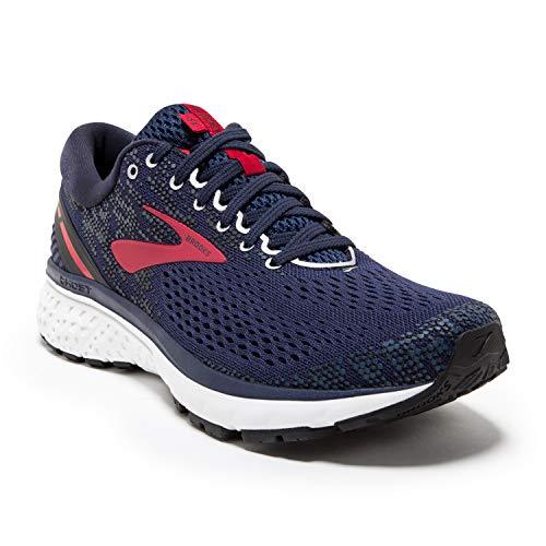 Brooks Mens Ghost 11 Running Shoe - Navy/Red/White - D - 10.5