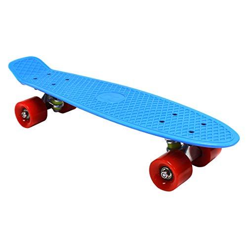 Kinder Retro Mini-Skateboard 56 cm - Kunststoff - Blau mit roten Rädern