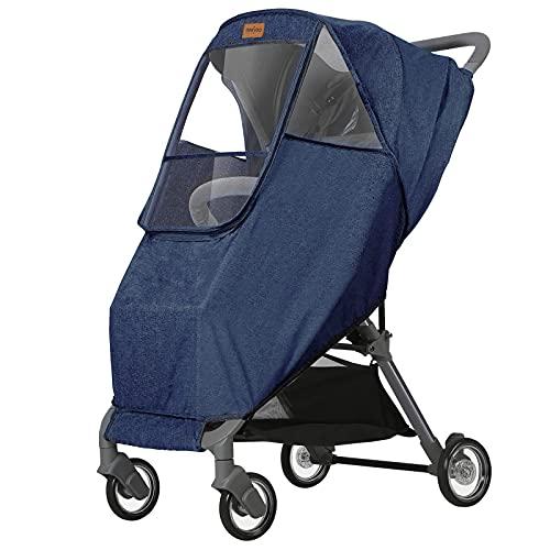newyoo Stroller Rain Cover Waterproof Breathable Universal Stroller Weather Shield with Rainproof Windproof Nano-Coating Elastic Band Large Window Blue