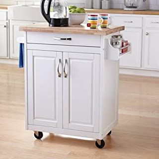 Mainstay Kitchen Island Cart - White - Portable Kitchen Island Cart with Solid Wood Top - Towel Bar and Spice Rack - Drawer and Cupboard for Ample Storage Options - Durable Casters for Mobility