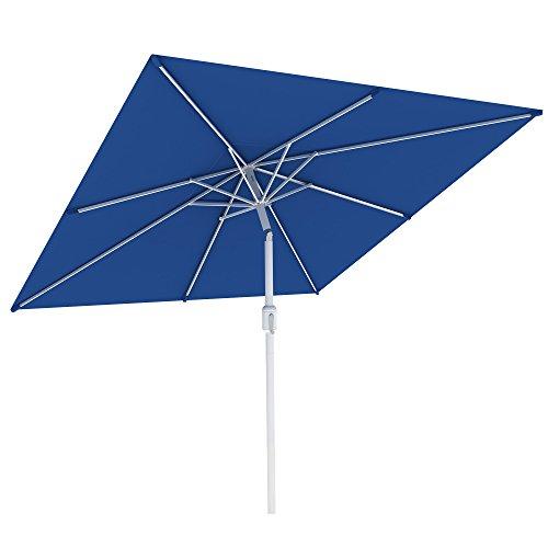 paramondo interpara Sonnenschirm quadratisch 3 x 3m blau + Gestell anthrazit, Hochwertiger Gartenschirm Marktschirm knickbar, Stabiler Terrasse Balkon Sonnenschirm eckig mit Kurbel