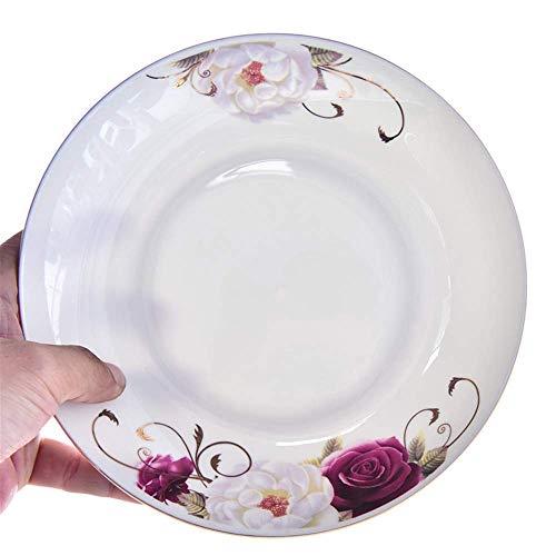 NDYD Plato de vajilla de cerámica hueso China 8 pulgadas placa de fruta hogar plato plato cubiertos conjunto plato plato plato plato plato de regalo placa cerámica diámetro 20.5cm placas DSB