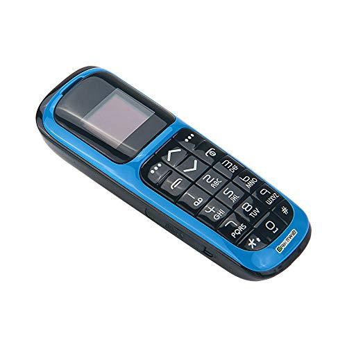 Baikewei 3 en 1 Mini teléfono Bluetooth Marcador Mundo El teléfono móvil más pequeño del Mundo con Cambiador de Voz Desbloqueado Teléfono Micro SIM teléfono plástico Jefe Long CZ V2 (Blue)