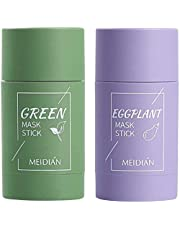 Green Tea Purifying Clay Stick Deep Cleansing Mask Oil Control Anti-Acne Aubergine Fijn Solid, Acne Cleansing Solid Mask Green Tea Aubergine Blackhead Remover Gezichtsmasker Pores Krimp(groen + paars)
