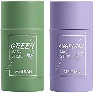Green Tea Purifying Clay Stick Deep Cleansing Mask Oil Control Anti-Acne Aubergine Fijn Solid, Acne Cleansing Solid Mask G...