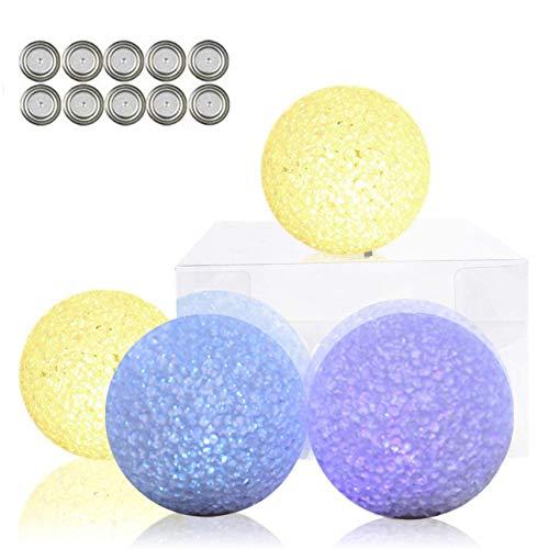 LED Kugel 4er Set, Kugelleuchte, Nachtlicht, 8 cm Stimmungslichter mit Farbwechsel und Warmweiß, Batteriebetrieben für Innen Dekorative Beleuchtung