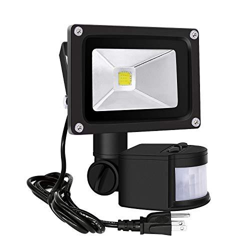 Motion Sensor Flood Lights Outdoor,10W Induction LED Lamp, IP65 Waterproof Spotlight,6500K LED Sensor Light,Security Light with US 3-Plug (Daylight White-Black)