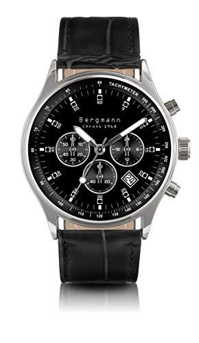 Original Bergmann-Uhr 1968 Chronograph Klassiker Quarz Leder Quarzuhr Edelstahlboden Bauhaus Modisch...