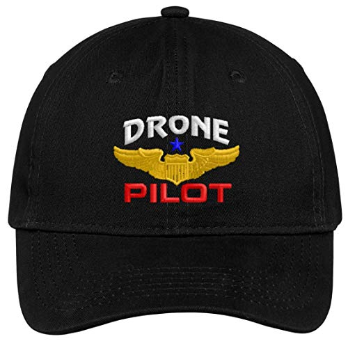 Spiffy Custom Gifts Drone Pilot with Wings Low Profile Baseball Cap Black