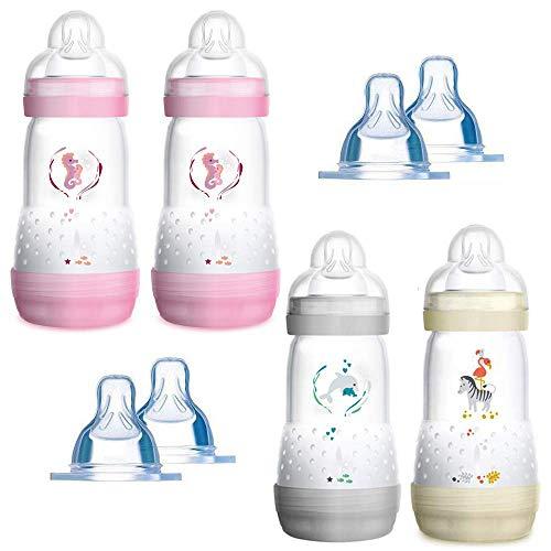 MAM Anti Colic Flasche 260 ml 4er Pack-Girl inkl. 8 Sauger // Größe 1 & 2 ab Geburt