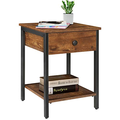 KINGSO Nightstands Industrial Side End Tables with Drawer and Storage Shelf 2 Tier Bedside Table Night Stand for Small Spaces Bedroom Wood Accent Furniture with Stable Metal Frame, Rustic Brown