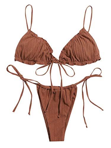 SOLY HUX Bikini Sexy Brasileño de Bañador Bikini con Cordón Lateral Ribete con Fruncido Verano para Mujer Ropa de Baño Adecuado Viajes Playa La Natacion Café Integral S