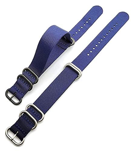 Lzpzz Strap de la OTAN 18mm 20 mm 22 mm 24 mm Weave Weave Weave Wamband Flowen Anillo Hebilla Banda de muñeca Correa Pulsera Accesorios (Color : Blue White Blue, Size : 20mm)