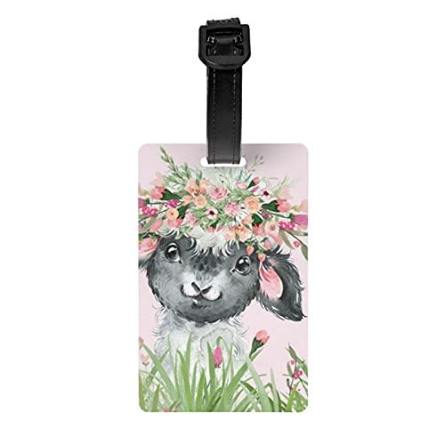 Etiquetas de equipaje Floral Hierba Bebé Oveja Sobre Fondo Rosa Maleta De Mano Etiqueta De Identificación Plegable Viaje