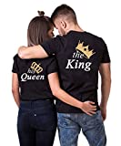 Daisy for U King Queen Pärche Shirts Set für Paar Partner Look T-Shirt Velentienstag Geschenk Tops Paare Baumwolle mit Aufdruck Queen-1 Stücke, M, Queen(damen)-schwarz