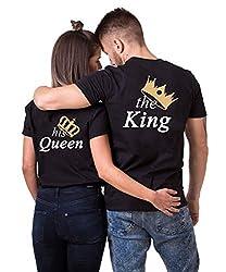 Daisy for U  King Queen Pärche Shirts Set für Paar Partner Look T-Shirt Velentienstag Geschenk Tops Paare Baumwolle mit Aufdruck Queen-1 Stücke, M, Queen(damen)-schwarz