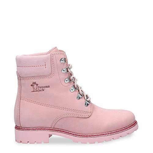 Panama Jack Damen Stiefel Panama 03 Glitter,Frauen Boots,Lederstiefel,Schnürstiefel,Combat,Chukka,Rosa,EU 40