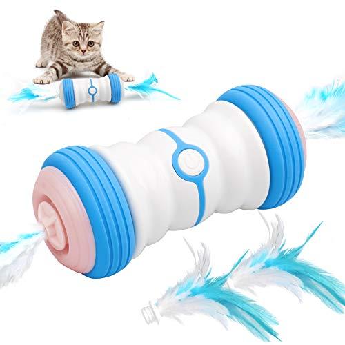 Tosiicop Interaktives Katzenspielzeug Elektrischer Automatisches Feder Katzenspielzeug Unregelmäßig bewegliches LED-Lichtspielzeug mit Zwei Geschwindigkeiten für Katzen USB wiederaufladbar
