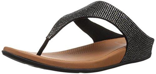 FitFlop Women's Banda Glitz Sandal, Black, 10 M US