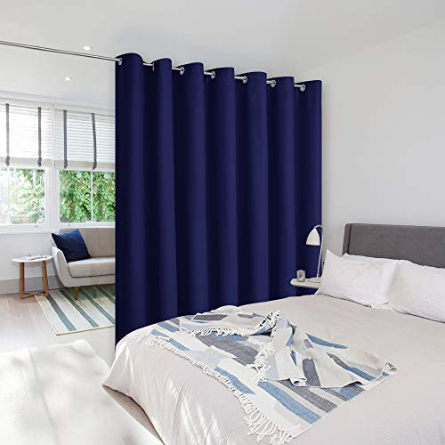 NICETOWN Room Divider Curtain Screen Partitions, Vertical Blinds for Sling Door, Blackout Window Curtains, Privacy Blinds for Patio, Extra Wide Drapes (Single Panel, 8.3ft Wide by 7ft Long, Navy Blue)