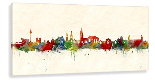 Kunstbruder Wandbild - Nürnberg Skyline Farbe (div. Grössen) 3D 4cm - Kunst Druck Leinwandbild Streetart Graffiti Like Banksy Kunst Bild Bürobild 50x100cm