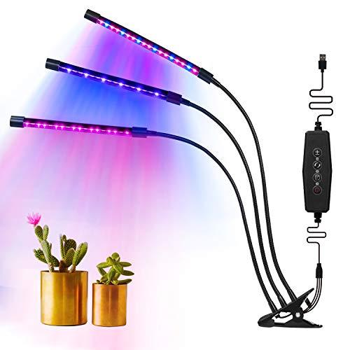 MixMart Lampada di Crescita, Lampada di pianta Tripla Testa Spettro Completo 54LED 4Livelli di Gradazione con Collo di Cigno Regolabile 360Gradi per Piante Interne 3/6/12h Timer