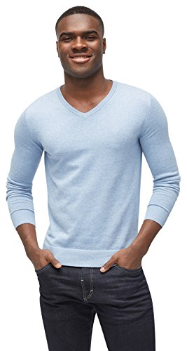 TOM TAILOR Herren Basic V-Neck Pullover, Blau (Clouds Heaven Blue Melange 6497), Medium