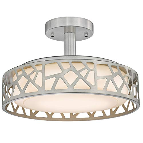 14inch Semi-Flush Mount Ceiling Light, VICNIE 20W Dimmable Close to Ceiling Light Fixture, LED 3000K Warm White, Brushed Nickel Finish Metal Frame and Acrylic Shade