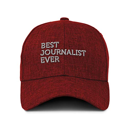Speedy Pros Baseball Cap Best Journalist Ever Embroidery Acrylic Casual Hats for Men & Women Strap Closure Red Design Only