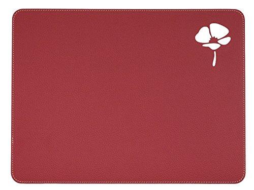 Nikalaz Set de Table, Rectangle, Rouge, en Cuir Naturel Recyclé, Stylisée avec Un Coquelicot, 40 x 30 cm (Rouge)