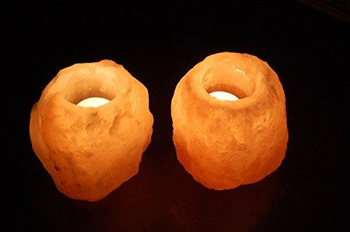 2x Salzkristall Stein Teelichthalter Salzlampe in Biova Qualität !