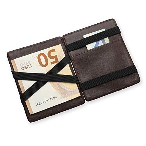 URBANHELDEN - Magic Wallet - Magischer Geldbeutel mit RFID Schutz - Portemonnaie aus echtem Büffelleder - Kreditkartenhalter Ausweisetui - Portmonee Herren - Glattleder - Braun