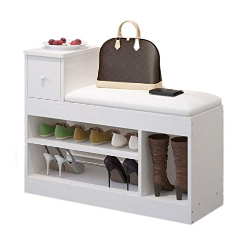 Shoe Storage Bench 2-Tier with Drawer Wood Storage Shelf Cabinet Shoe Bench Seat Storage Organiser for Hallway Entryway Living Room 80X30X62CM (Color : White+White, Size : B)