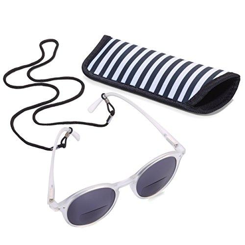 TROIKA Sun Reader 2 - SUR20/WH- Lesesonnenbrille mit Etui - bifokal - Stärke +2,00 dpt - Lesebrille + Sonnenbrille - Polykarbonat/Acryl/Mikrofaser - weiß - das Original von TROIKA