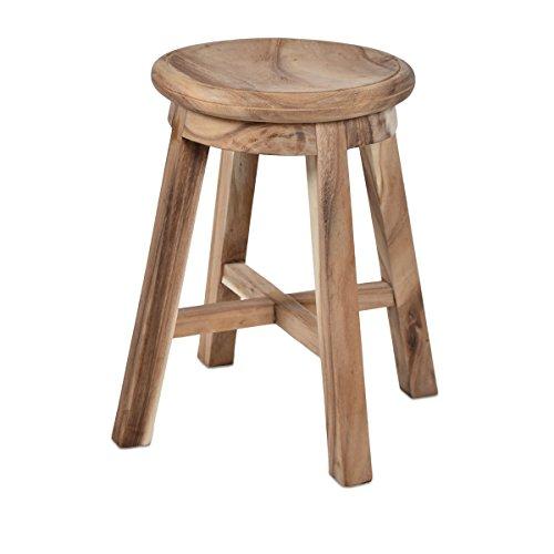 Divero Hocker Sitzhocker Holzhocker Badhocker Duschhocker Schemel – Suar Holz massiv unbehandelt Reine Handarbeit rund - braun
