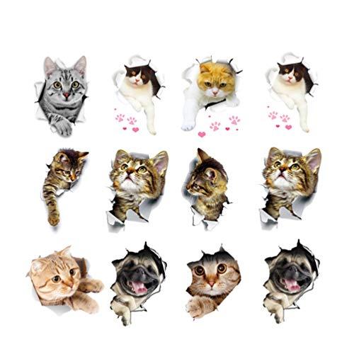 Toyvian 12 Stücke 3D Katze Wandtattoo Toilettendeckel Aufkleber Tier Sticker Selbstklebende Wandaufkleber Abnehmbare Wandsticker für Kinderzimmer Wanddeko Kühlschrank Küche WC Deckel